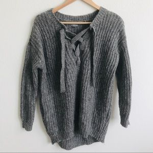 SALE Aerie lace up oversized sweater